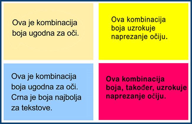 Različite kombinacije boja podloge i teksta